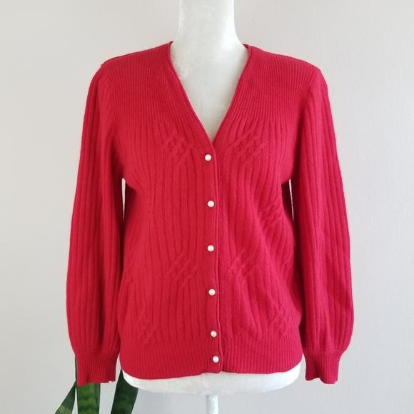 Vintage Sweaters - VTG 80s Lambswool-Angora Cardigan Sweater